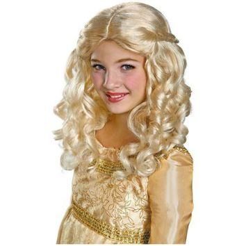 Aurora Costume Wig Kids Sleeping Beauty Princess Halloween Fancy Dress