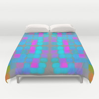 Jolly Good Duvet Cover by Gréta Thórsdóttir  #quilt #retro #abstract #funky #vintage #girly #pink #mint