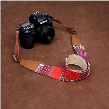 Red Wide Stripe Colorful  Handmade Leather Camera Strap Bohemia Style 7212