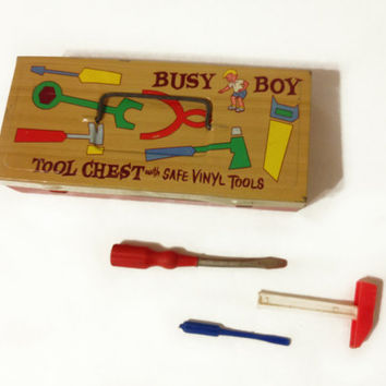 Vintage Childern's Busy Boy TIn Tool Chest with by ModernFiction