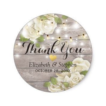 Rustic Wood Floral String Lights Wedding Thank You Classic Round Sticker
