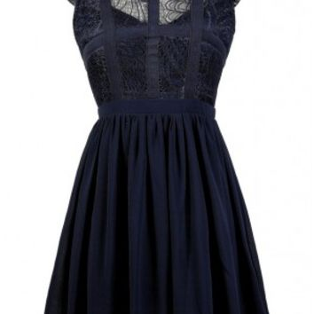 Lily Boutique Cute Navy Dress, Navy Lace Dress, Blue Lace Dress, Navy A-Line Dress, Navy Sundress, Navy Summer Dress, Navy Party Dress, Navy Lace and Chiffon Dress, Blue Party Dress, Capsleeve Lace Top Dress With Contrast Ribbon Overlay in Navy Lily Boutiq