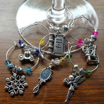 Disney fairy tales inspired wine glass charms