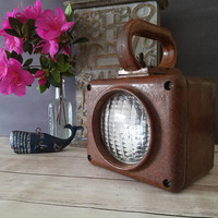 USN Lantern/ Brown USN Battle Lantern/ US Navy/ Handheld Lantern/ Industrial Light/ Vintage Lantern/ Ship Lantern/ World war ii/ Militaria