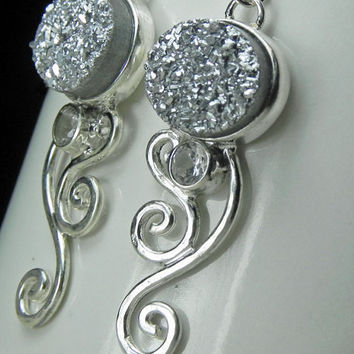 Druzy Earrings  Spiral Swirl Earrings  Silver by FantaSeaJewelry