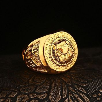 Cost Price High Quality Gold Hip Hop men's Punk style Rapper lion head star rings Gold Finger