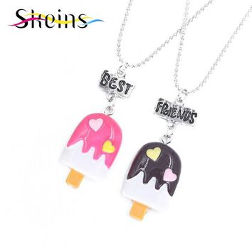 Skeins BFF Jewelry 2pcs/Set Best Friends Charm Cut Acrylic Chocolates Pendants Necklace Food Jewelry For Kids Ice-Cream Necklace