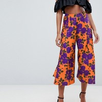 ASOS Cropped Wide Leg Trousers with Flowing Hem in Floral Print at asos.com