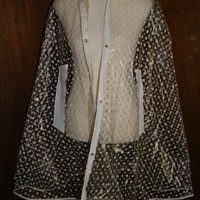 Vintage 1960s Plastic Rain Cape Clear With White Polka Dots And White Trim Unmarked Size Large