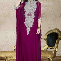 Very Fancy dubai Kaftan/Abaya/jalabiya ladies maxi dress REALL CRYSTAL WORK