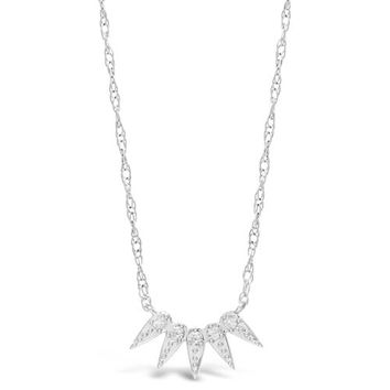 """.07 cttw Diamond 5 Spike Sterling Silver Pendant Necklace 18"""" Chain"""