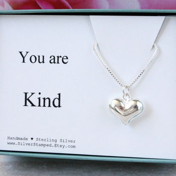 You are Kind - Thank you gift for her Sterling Silver Heart necklace gift for hostess best friend girlfriend Maid of Honor Teacher gift box