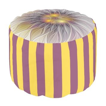 Luminous Colorful Flower, Abstract Modern Fractal Pouf