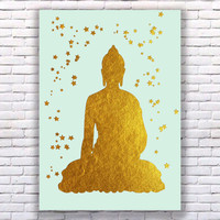 Buddha Gold Art Print Instant Download Printable Mint Edition