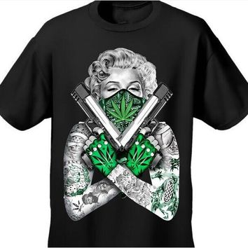 New Arrival Mens Tshirt Weed Bandana Marilyn CROSSED PISTOLS POT LEAF 420 TATTOOS Design Cotton Tops Tee For Men Women T Shirt