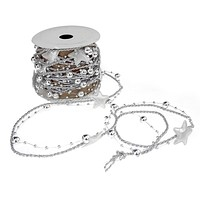 Metallic Twine Bead and Ribbon Christmas Garland with Puffy Star Cutout, Silver, 5 yards