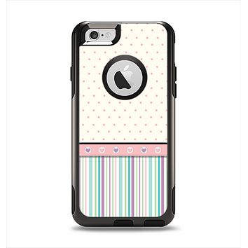 The Polka Dots with Green and Purple Stripes Apple iPhone 6 Otterbox Commuter Case Skin Set