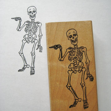 Vintage Skeleton Rubber Stamp Halloween Rubber Stamp Ink Stamp Scrapbook Halloween Decor Stamp Scary Stamp Invitations Treat Bag Stamp USED