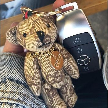 GUCCI Popular Cute Cartoon Bear Bag Hanging Drop Car Key Chain Bag Accessories Lover Gift