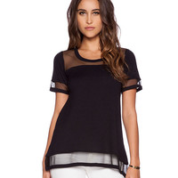 Short Sleeve Mesh Embroidered Top