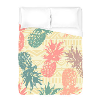 Pineapple on Tribal Duvet Cover