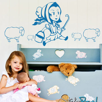 Vinyl Wall Decal Sticker LIttle Bo Peep Sheep Storytale #GFoster144