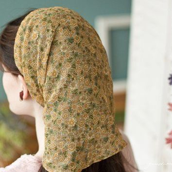 long Wildflower Chiffon headwrap headcovering by GarlandsOfGrace