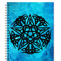 Pagan Journal - Pentagram Notebook - Spell Book - A5 Spiral Notebook - Tribal Art - Illustrated Journal - Personal Notebook - Sketch Book