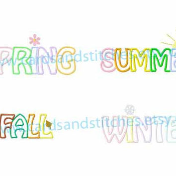 "Spring - Summer - Fall - Winter - Applique Words - Machine Embroidery Design - Instant Download - 5"" x 7"" size  - 7 Formats Including SVG"