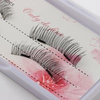 1 Set Dual 3D Black Magnetic False Eyelashes Handmade Reusable Thick Long Big Eye Lashes For Makeup Extension Tools