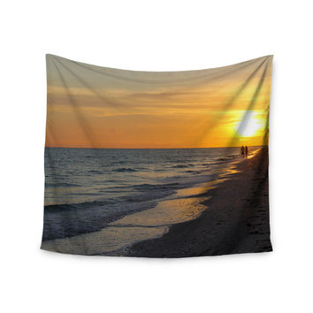 "Philip Brown ""Sunset Beach"" Coral Gold Wall Tapestry"
