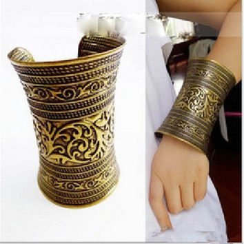 New Fashion bangle wide Cuff Gold Metal 18K Gold Plated Bangle Cuff bangle/fashion bracelet Hot Sale SL-055 Bronze