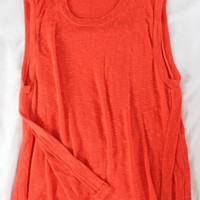 "~~~ VIBRANT MUST ~~~ ALEXX JAE & MILK TANGERINE ""SIDE SLIT"" COTTON KNIT TOP ~~ S"