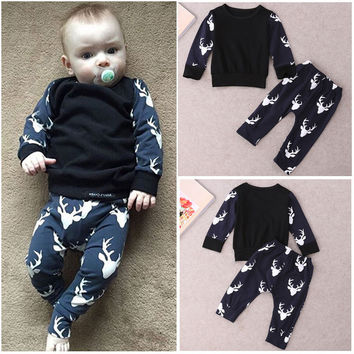 Cotton Newborn Baby Boys Girls Clothing Set Deer Clothes Outfits T-shirt Tops Pants Set 2pcs Baby Boy