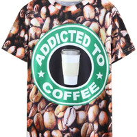 3D  ADDICTED TO COFFEE Printed T-shirt