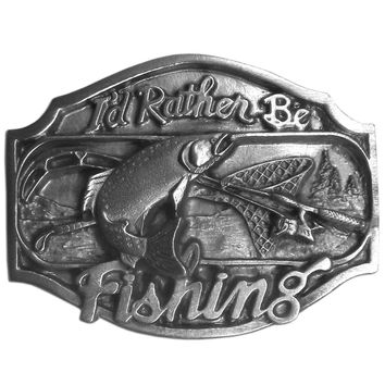 I'd Rather Be Fishing  Antiqued Belt Buckle
