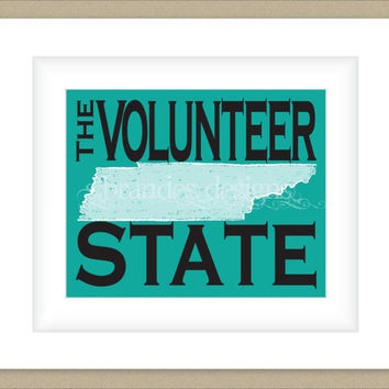 8x10 Tennessee Print, The Volunteer State Map Art Custom Colors
