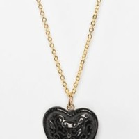 UrbanOutfitters.com > Diament Jewelry for Urban Renewal Vintage Black Heart Necklace