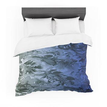 "Ebi Emporium ""Forever Flowers, Blue Ombre"" Blue Gray Watercolor Featherweight Duvet Cover"