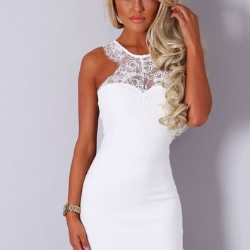 Imogene White Lace Mini Dress | Pink Boutique