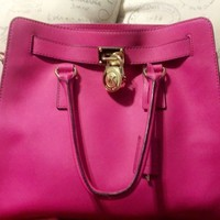 MICHAEL KORS *PRE-OWNED* HAMILTON North South MK color RASPBERRY
