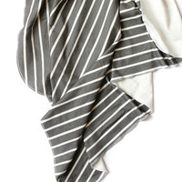 Organic Swaddle Blanket Vintage Charcoal Stripes