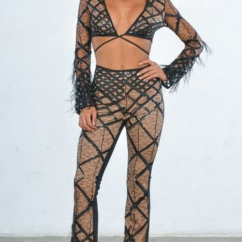 Indie XO No Rules Black Sheer Mesh Feather Long Sleeve Diamond Cross Geometric Pattern V Neck Crop Top Pant Two Piece Jumpsuit - As Seen on Adinayh