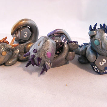 Dragon Triplets - Three Polymer Clay Dice Dragons