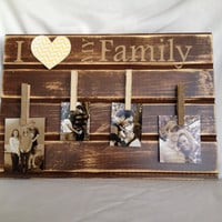 Family board with personalized family photos pallet wood wall decor burlap clothes pins I heart my family brown shabby chic tan vinyl letter