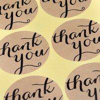 24 Kraft Round Circle Favor Thank You Label Stickers  -  Favor sticker, wedding favors, envelope seals