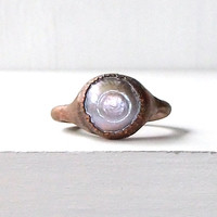 Pearl Ring Birthstone Ring Gemstone Ring Size 5.5 Cocktail Ring Lilac Violet Grey For Her Artisan Handmade