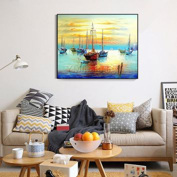 Original Seascape Oil yellow painting on canvas heavy textured extra large boat ship Wall picture home decor cuadros abstractos hand painted