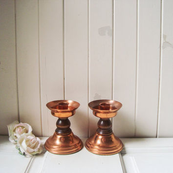 Vintage Copper Candle Stick Holders, Brass Candleholders, Copper and Wood Candlestick Holders, Metal Small Candle Holders, Taper Candlestick
