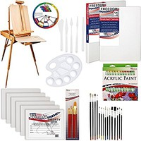 """US ART SUPPLY 62 Piece Custom Artist Acrylic Painting Kit with Coronado French Easel, 24-Tubes Acrylic Colors, 2-each 16""""x20"""" Artist Quality Stretched Canvases, 6-each 11""""x14"""" Canvas Panels, 7-Nylon Hair Paint Brushes, 15-Multipurpose Paint Brushes, Pallet"""